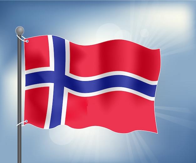 Drapeau réaliste de la norvège Vecteur Premium