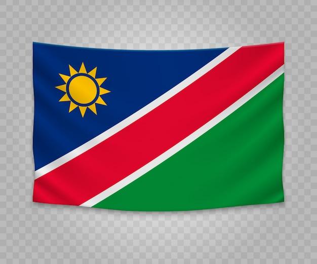Drapeau réaliste suspendu de la namibie Vecteur Premium
