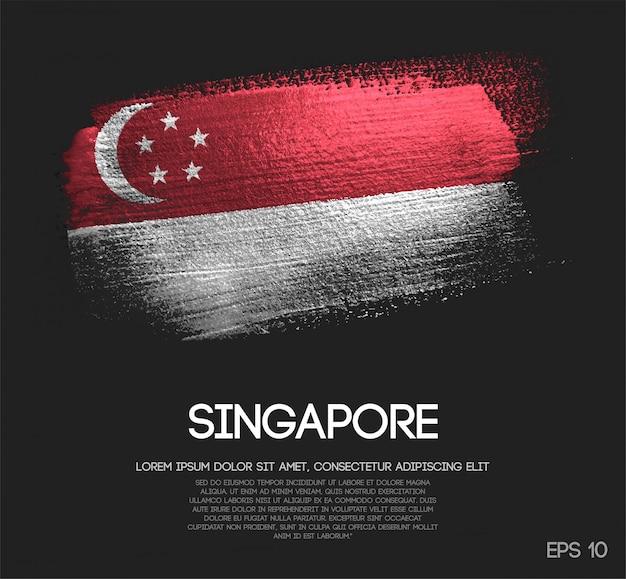 Drapeau de singapour fait de peinture de pinceau de scintillement de scintillement Vecteur Premium