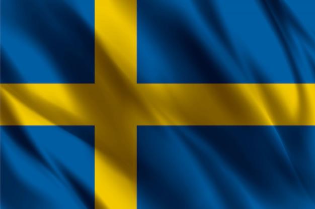 Drapeau De La Suède Flottant Fond De Soie   Vecteur Premium