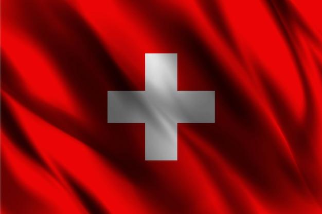Drapeau Suisse Flottant Sur Fond De Soie   Vecteur Premium