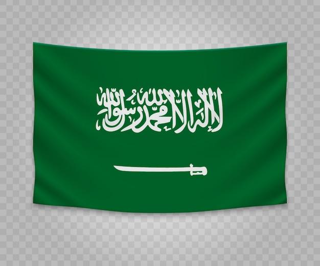 Drapeau suspendu réaliste de l'arabie saoudite Vecteur Premium