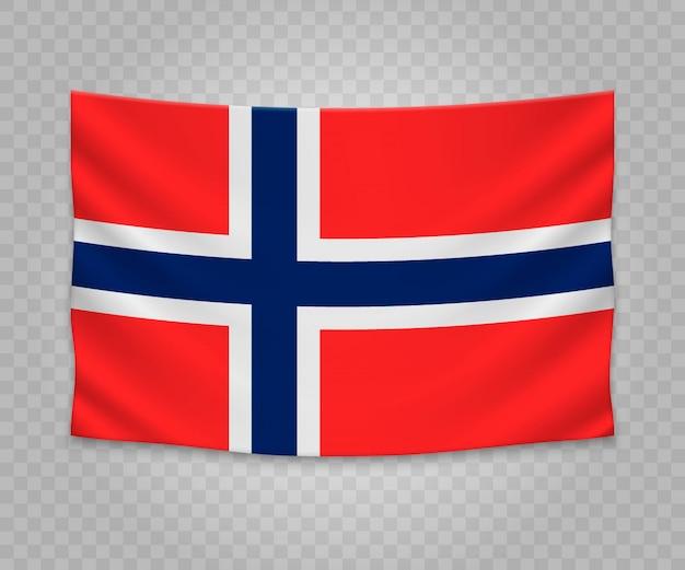 Drapeau suspendu réaliste de la norvège Vecteur Premium