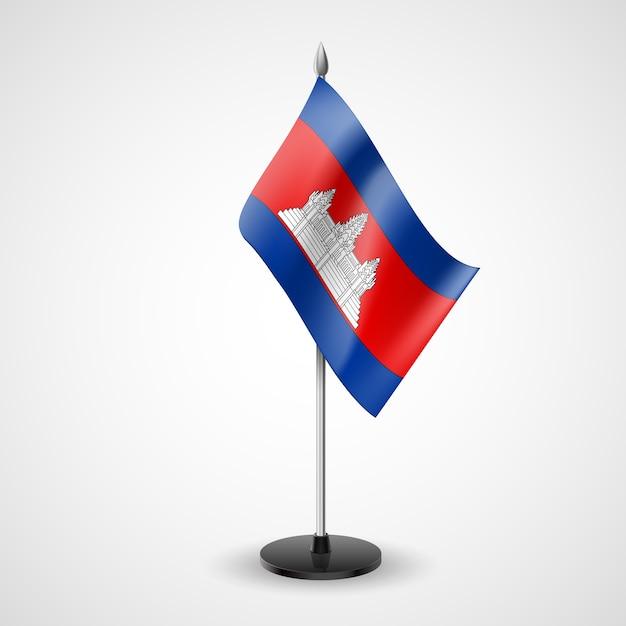 Drapeau De Table D'état Du Cambodge. Symbole National Vecteur Premium