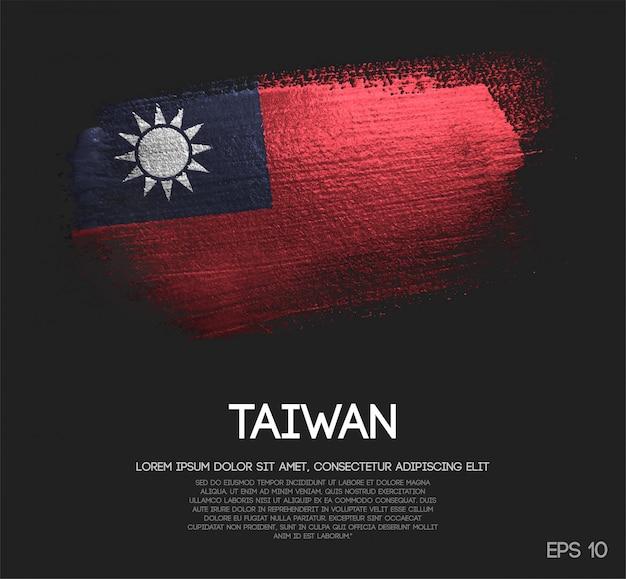 Drapeau De Taiwan Fait De Peinture De Pinceau De Scintillement De Scintillement Vecteur Premium