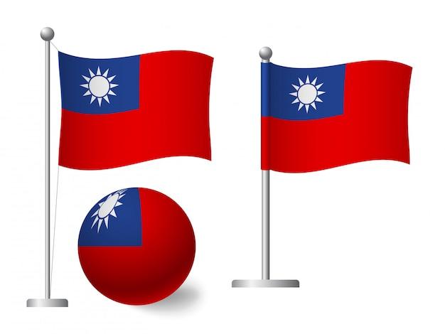 Drapeau De Taïwan Sur L'icône De Poteau Et Boule Vecteur Premium