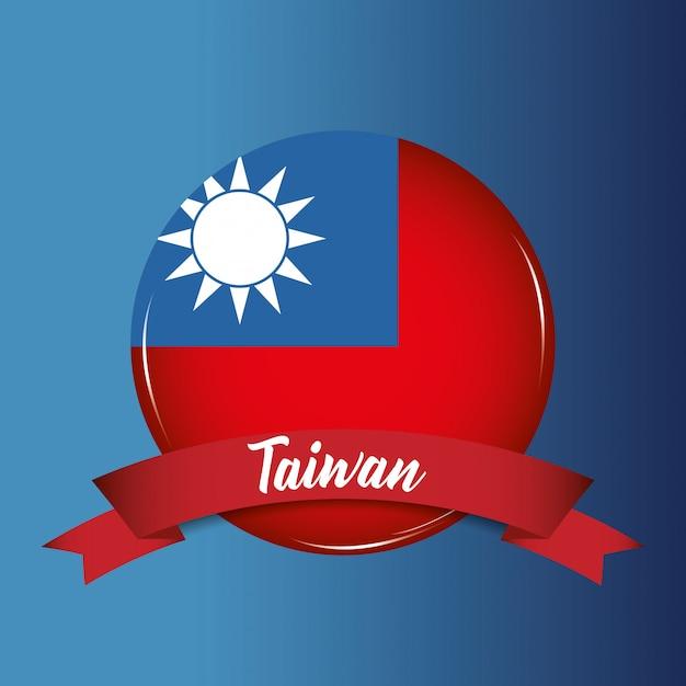 Drapeau Taiwan Vecteur Premium
