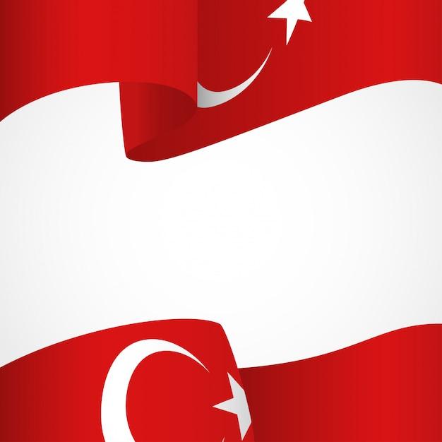 Drapeau De La Turquie Sur Blanc Vecteur Premium