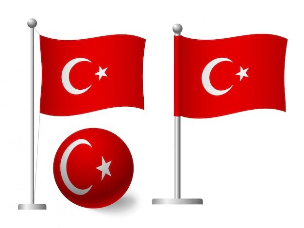 Drapeau De La Turquie Sur L'icône De Poteau Et Boule Vecteur Premium