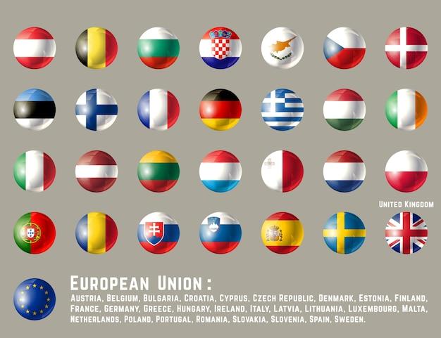 Drapeau de l'union européenne Vecteur Premium