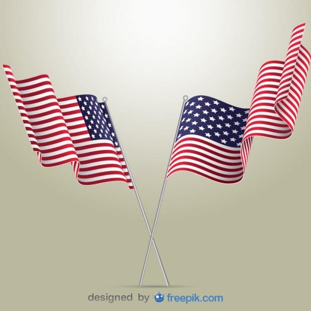 Drapeaux américains illustration vectorielle Vecteur gratuit