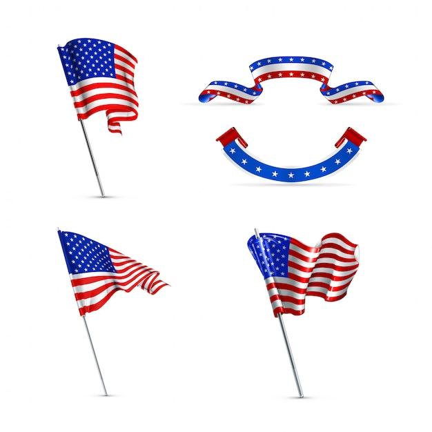 Drapeaux Américains, Jeu D'icônes Vecteur Premium