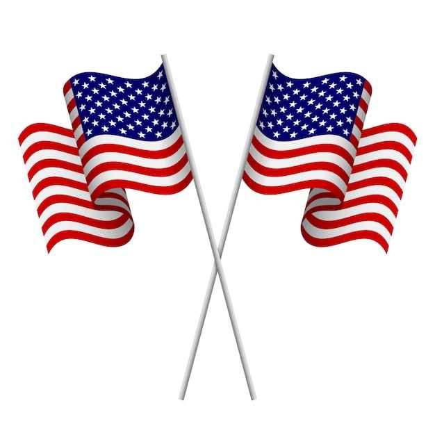 Drapeaux américains Vecteur Premium