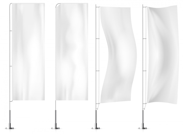Drapeaux de bannière de textile blanc Vecteur Premium