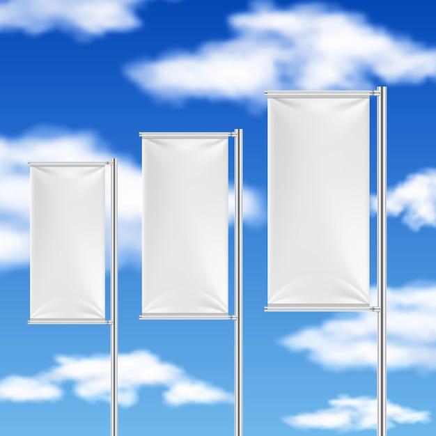 Drapeaux blancs et ciel bleu. modèle de publicité d'événement de plage. Vecteur Premium