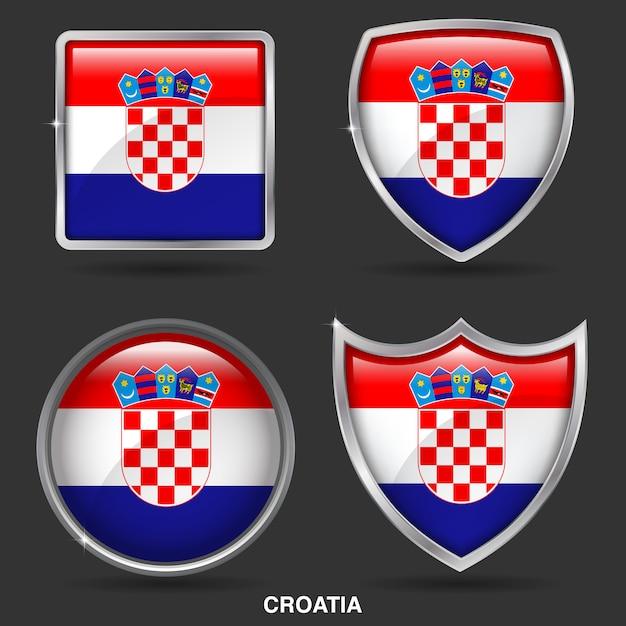 Drapeaux de croatie en 4 forme icône Vecteur Premium
