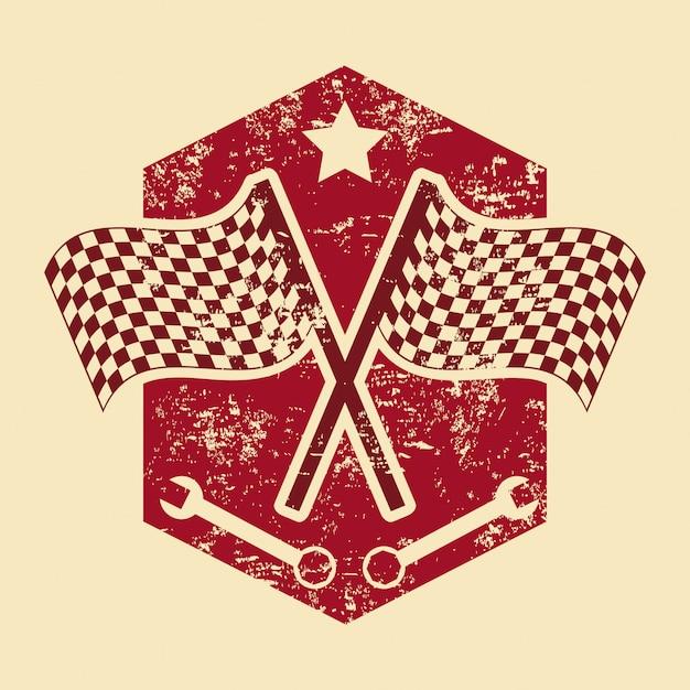 Drapeaux à damier au cours de l'illustration vectorielle fond crème Vecteur Premium