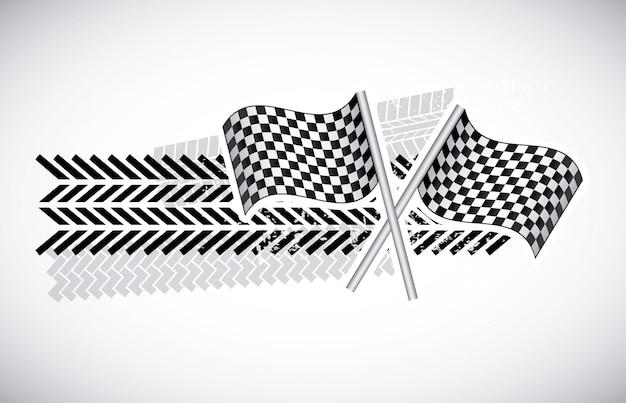 Drapeaux à damier sur illustration vectorielle fond gris Vecteur Premium