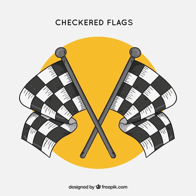 Drapeaux damiers de course dessinés à la main Vecteur gratuit