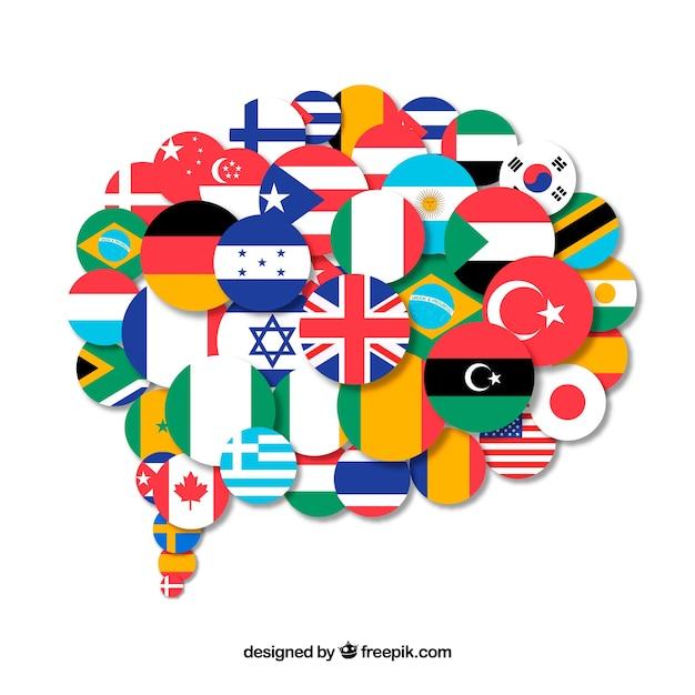 Drapeaux de différents pays en forme de bulle de dialogue Vecteur gratuit