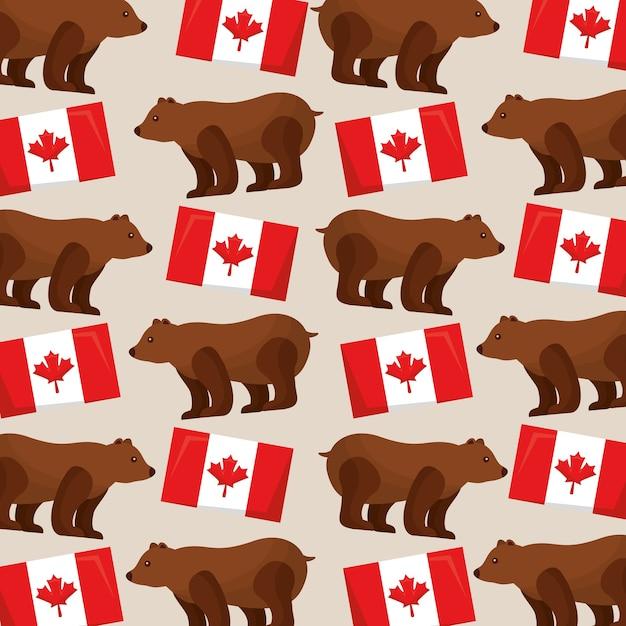 Drapeaux De Modèle Canada Et Grizzly Image Vecteur Premium