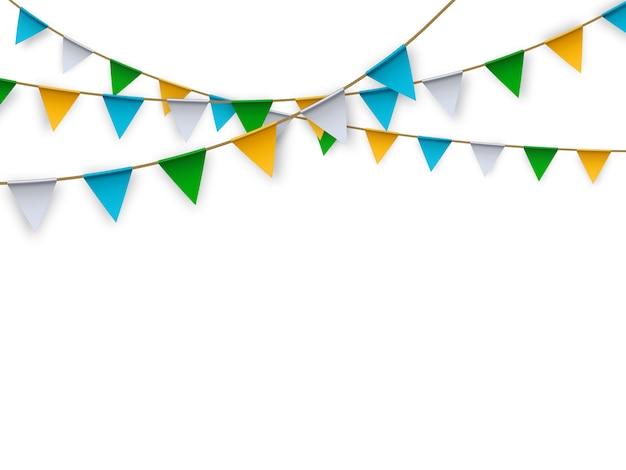 Drapeaux de parti isolé réaliste de vecteur pour la décoration et couvrant sur fond blanc. Vecteur Premium