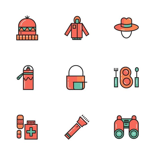 Draps et outils de camping et de plein air Vecteur Premium