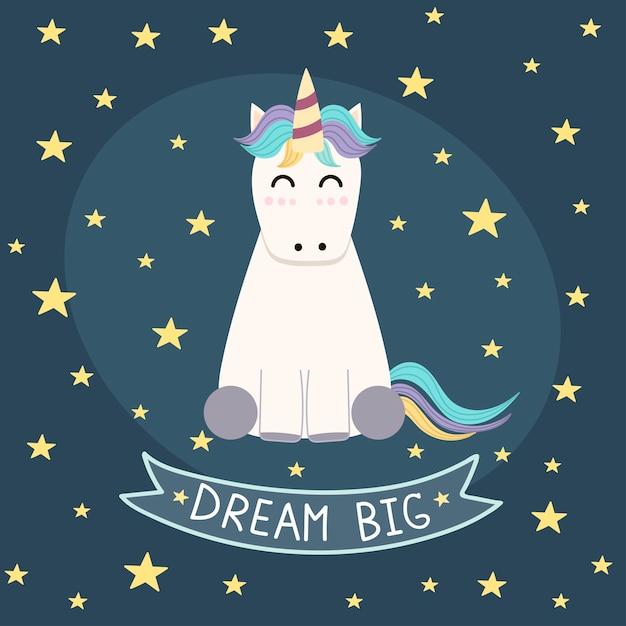 Dream big poster, carte de voeux avec une licorne mignonne. Vecteur Premium