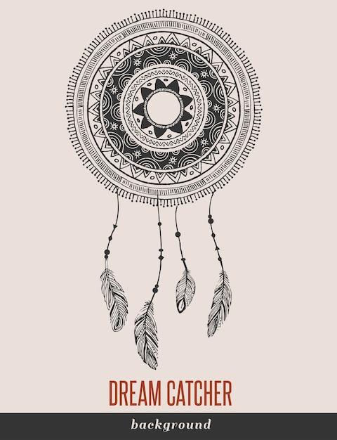 Dream Catcher, Boho, Ethnique, Tribal. Vecteur Premium