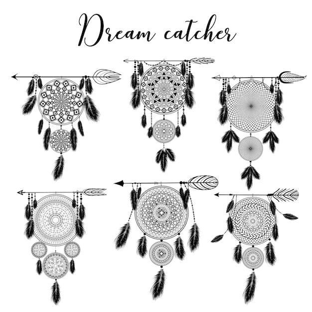 Dreamcatcher Indien Dessiné à La Main Avec Des Plumes. Illustration. Design Ethnique, Boho Chic, Symbole Tribal. Vecteur Premium