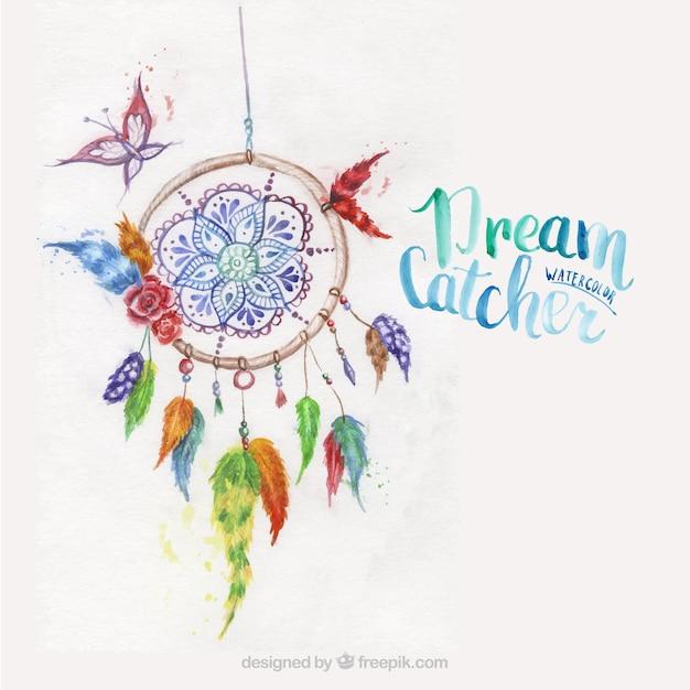 Dreamcatcher peint à l'aquarelle Vecteur gratuit