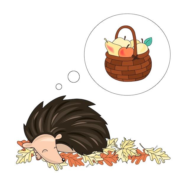 Dreaming hedgehog animal vector illustration set Vecteur Premium