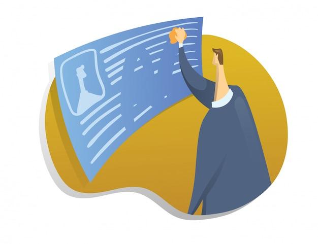 Droit D'être Oublié Sur Internet. Un Homme Efface Des Informations Sur Lui-même. Illustration De Concept Sur Fond Blanc. Vecteur Premium
