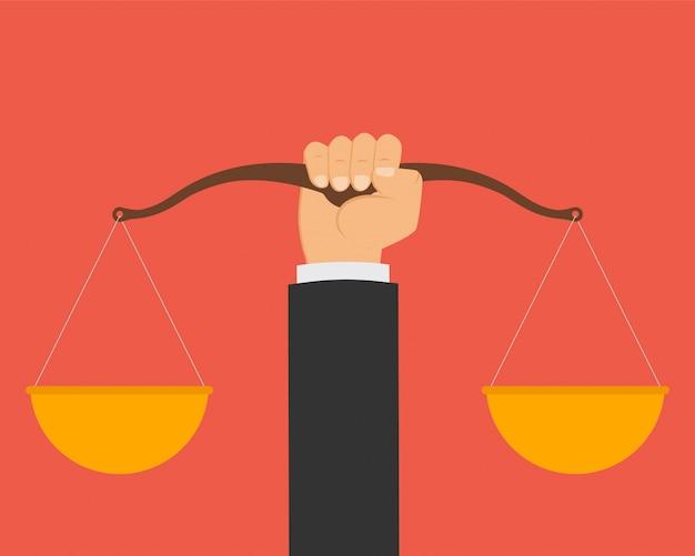 Droit Et Justice, échelles D'un Juge. Vecteur Premium
