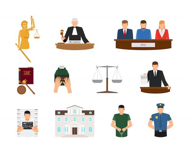Droit et justice icônes plat de cour et punition Vecteur Premium