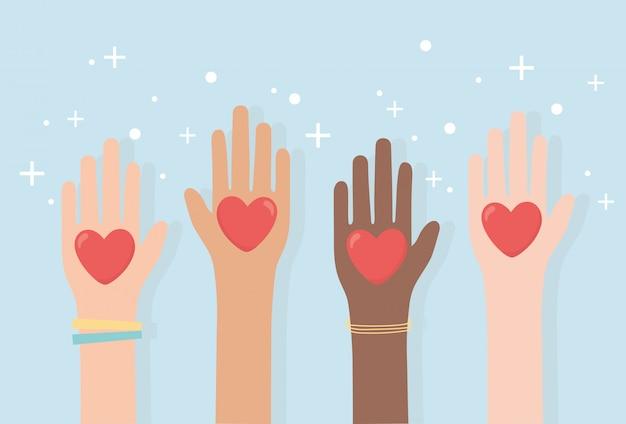 Droits De L'homme, Diversité Des Mains Levées Avec Coeurs Amour Illustration Vectorielle Vecteur Premium