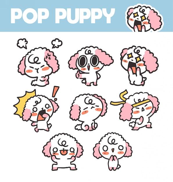 Drôle Et Charmant Pop Puppy Volume 2 Sticker Asset Illustration. Idéal Pour App, Project. Impression Vecteur Premium