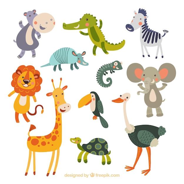 Drôle collection d'animaux dessinés à la main Vecteur gratuit