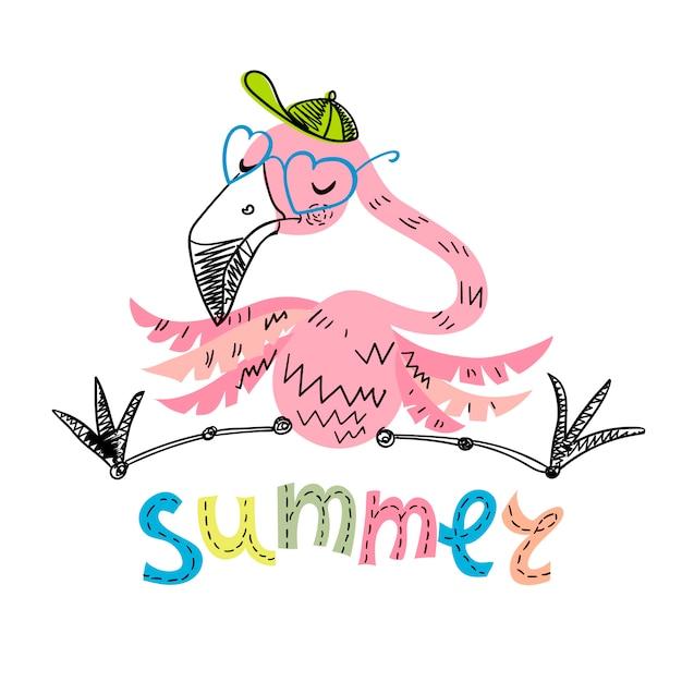 Drôle flamingo avec des lunettes et une casquette Vecteur Premium