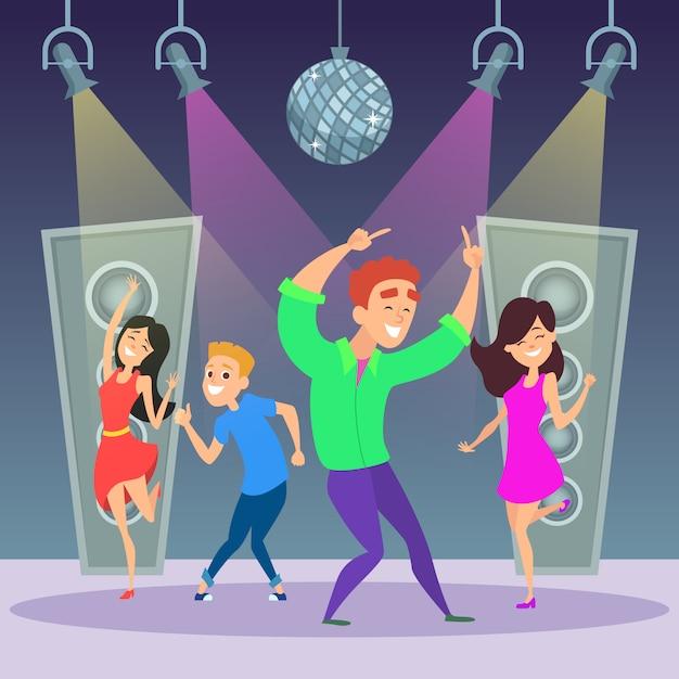 Drôle gens qui dansent sur la piste de danse Vecteur Premium