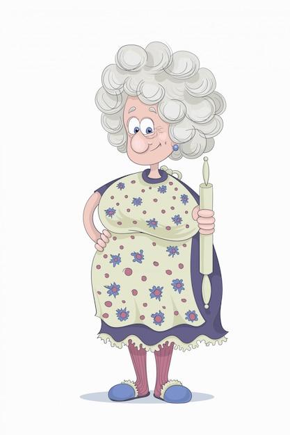Drôle de grand-mère Vecteur Premium