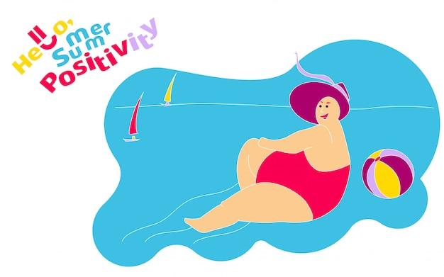 Drôle happy fat girl sur la plage d'été Vecteur Premium
