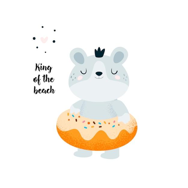 Drôle petit bébé ours se détendre sur la plage, piscine. donut, ours en peluche. savourer l'été Vecteur Premium
