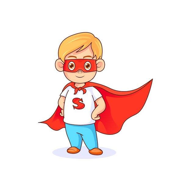 Drôle petit garçon en super-héros pose portant un masque rouge et une cape rouge Vecteur Premium