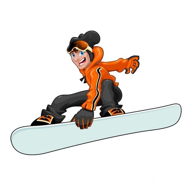 Drôle snowboarder vector cartoon caractère isolé dans le fichier eps le snowboard est facilement gérable pour ajouter des graphiques ou des textures Vecteur gratuit