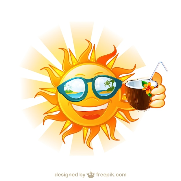 Drôle soleil tropical de dessin animé l île