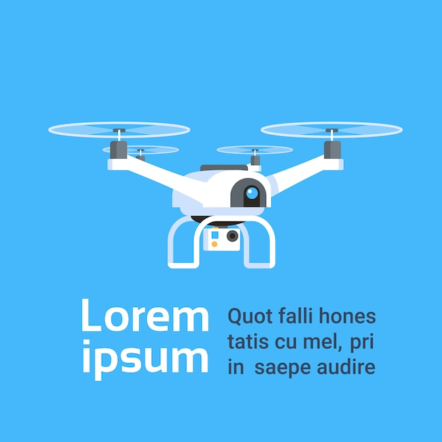 Drone aérien à distance avec caméra prenant des photos ou des enregistrements vidéo Vecteur Premium