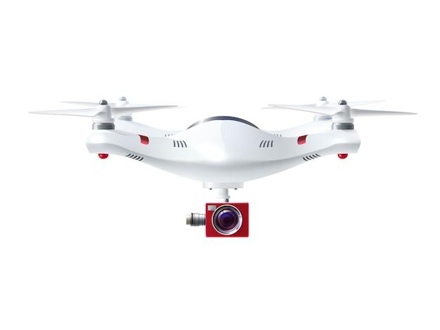 Drone blanc avec caméra rouge Vecteur gratuit