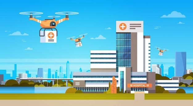 Drone avec boîtes survoler les bâtiments modernes, concept de livraison de transport aérien Vecteur Premium