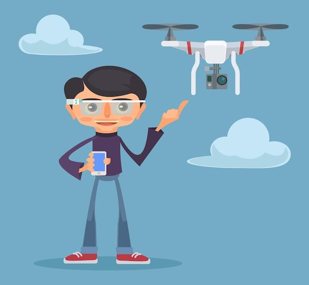 Drone Et Homme. Illustration Plate Vecteur Premium